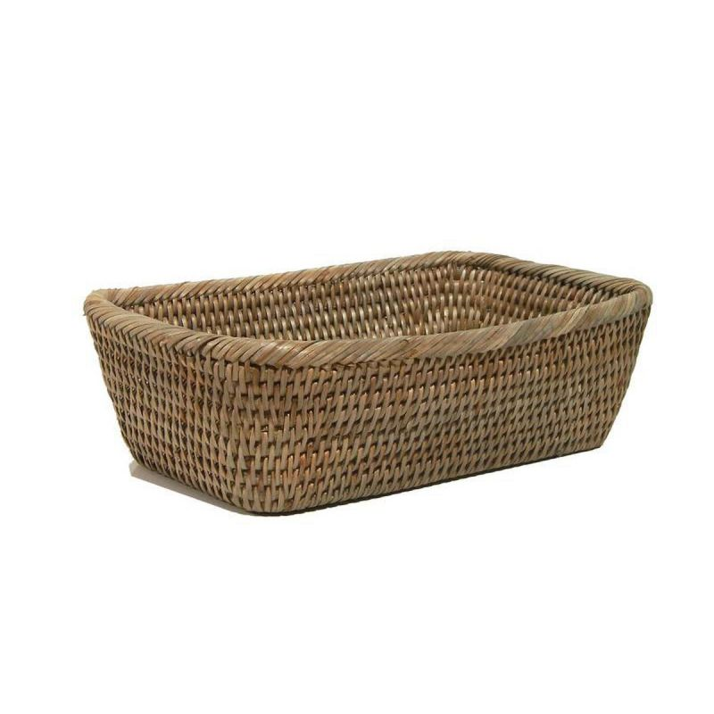 Rectangular White Rattan Bread Basket