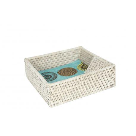 Porte-serviettes de table carré blanc en rotin et osier