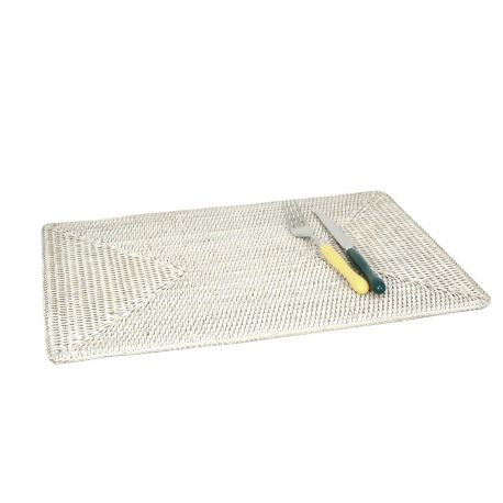 Set de table  rectangulaire Rotin Blanc