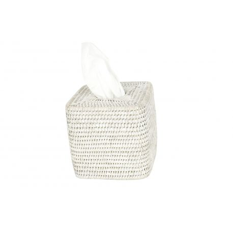 Boite Carrée  Kleenex  Rotin Blanc