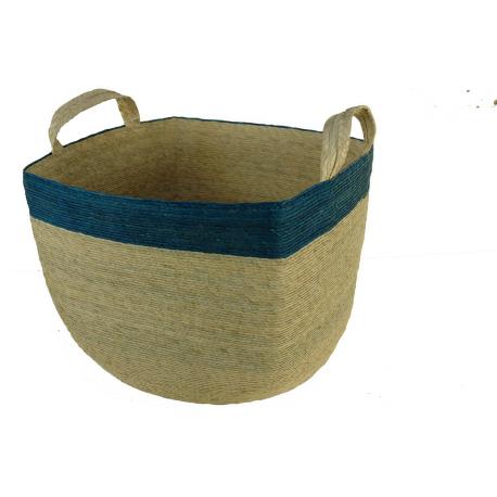 Corbeille à linge Naturel et bleue carrée avec anses