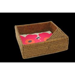 Porte-serviettes de table carré en rotin
