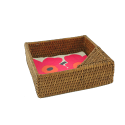 Square rattan napkin holder