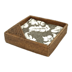 Large square rattan napkin holder
