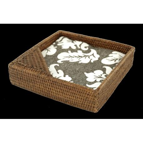 Large square rattan napkin holder